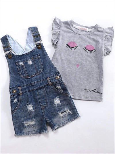 Girls Grey Ruffled Sleeve Top Denim Sleeveless Romper Set - Grey/Denim / 2T - Girls Spring Casual Set