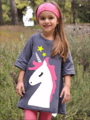 Girls Grey Unicorn Graphic Tunic Dress - Girls Spring Top