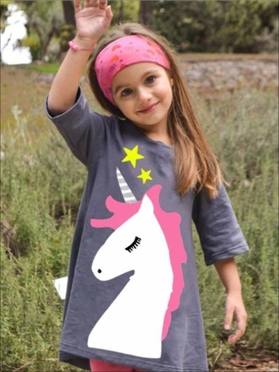 Girls Grey Unicorn Graphic Tunic Dress - Gray / 2T - Girls Spring Top