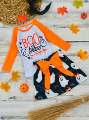 Girls Halloween Themed BOO Tribe Long Raglan Sleeve Top & Ghost Print Skirt Set - Girls Halloween Set