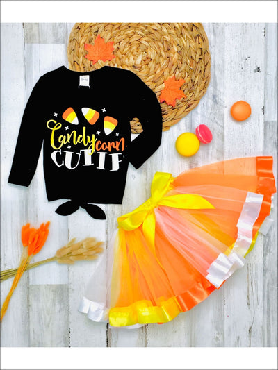 Girls Halloween Themed Candy Corn Cutie Long Sleeve Knot Top & Tutu Skirt Set - Multicolor / 2T - Girls Halloween Set