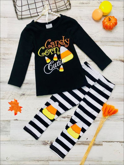 Girls Halloween Themed Candy Corn Cutie Long Sleeve Tunic & Striped Candy Corn Applique Leggings Set - Black / 2T - Girls Halloween Set