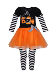 Girls Halloween Themed Long Sleeve Boo Tutu Tunic with Striped Sleeves & Striped Leggings Set - Girls Halloween Set