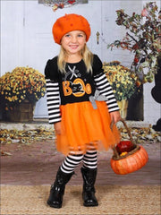 Girls Halloween Themed Long Sleeve Boo Tutu Tunic with Striped Sleeves & Striped Leggings Set - Orange / S-3T - Girls Halloween Set