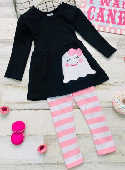 Girls Halloween Themed Long Sleeve Ghost Applique Tunic & Striped Leggings Set - Pink / 2T - Girls Halloween Set