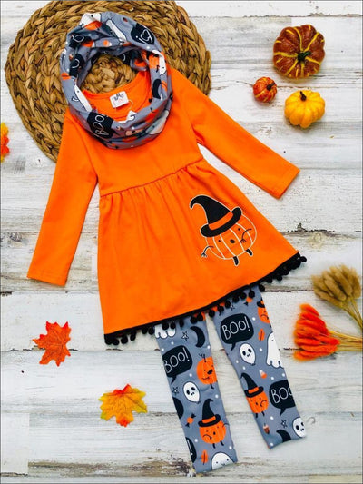 Girls Halloween Themed Long Sleeve Pom Pom Pumpkin Witch Tunic Spooky Leggings and Scarf Set - Orange / 3T - Girls Halloween Set