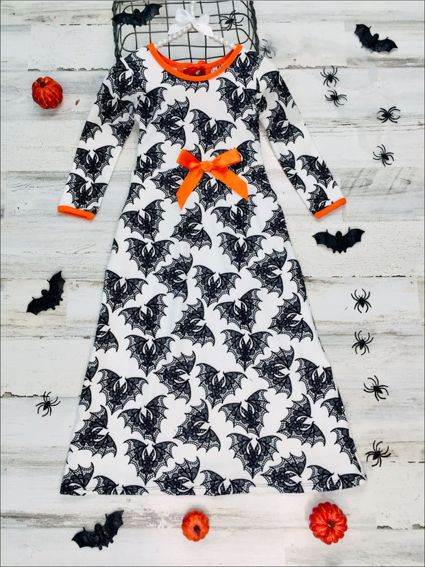 Girls Halloween Themed Long Sleeve Printed Maxi Dress - White / 2T/3T - Girls Fall Casual Dress