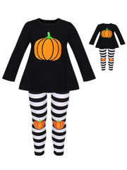 Girls Halloween Themed Long Sleeve Pumpkin Top & Striped Leggings Set with Matching Doll Set - Girls Fall Casual Set