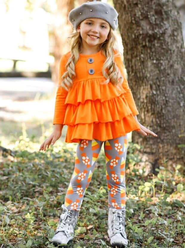 Girls Halloween Themed Long Sleeve Tiered Buttoned Tunic & Printed Leggings - Girls Fall Casual Set