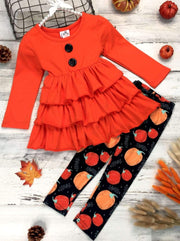 Girls Halloween Themed Long Sleeve Tiered Buttoned Tunic & Printed Leggings - Orange / 2T - Girls Fall Casual Set