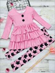 Girls Halloween Themed Long Sleeve Tiered Buttoned Tunic & Printed Leggings - Pink / 2T - Girls Fall Casual Set