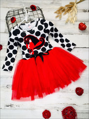 Girls Halloween Themed Long Sleeve Tutu Dress Dress with Bow - Red / 2T - Girls Fall Casual Dress