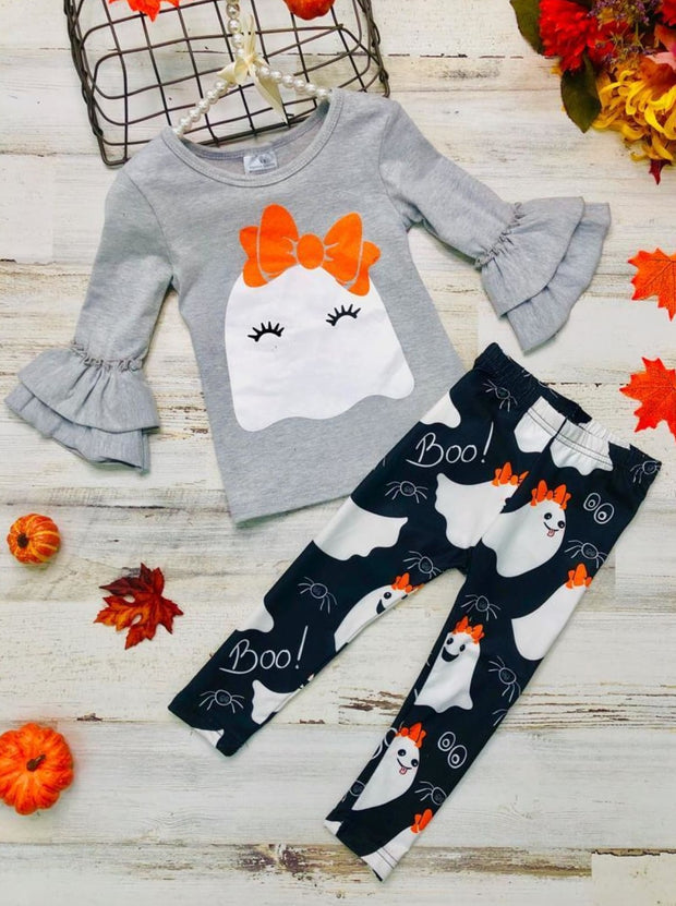 Girls Halloween Themed Ruffled 3/4 Sleeve Ghost Print Tunic & Boo Ghost Print Leggings Set - Grey / 3T - Girls Halloween Set