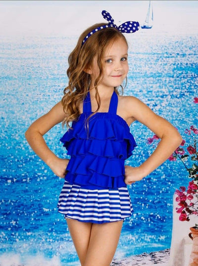 Girls Halter Neck Striped Ruffled One Piece Swimsuit - Girls One Piece Swimsuit
