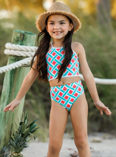 Girls Halter Printed High Waist Two Piece Swimsuit - Girls Two Piece Swimsuit