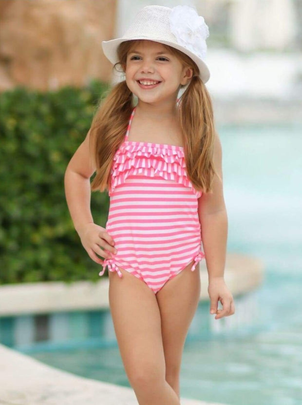 Girls Halter Ruffled Striped One Piece Swimsuit - Girls One Piece Swimsuit