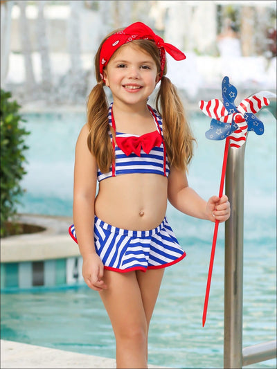 Girls Halter Striped Skirted Two Piece Swimsuit with Bow Detail - Girls Two Piece Swimsuit