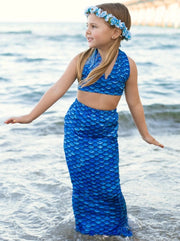 Girls Halter Top Side Tie Mermaid Bikini With Tail Skirt Cover Up - Girls Mermaid Swimsuit