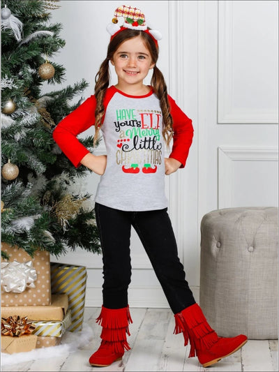 Girls Have yoursELF a Merry Little Christmas Top and Cuffed Jeans Set - Girls Christmas Set