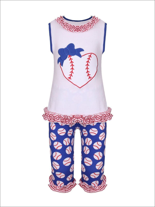 Girls Heart Baseball & Bow Sleeveless Ruffled Top & Baseball Print Ruffled Leggings Set - Girls Spring Casual Set