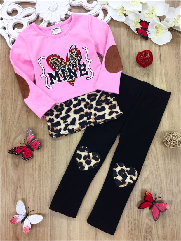 Girls Heart Be Mine Leopard Patched Tunic and Leggings Set - Pink / 2T - Girls Fall Casual Set