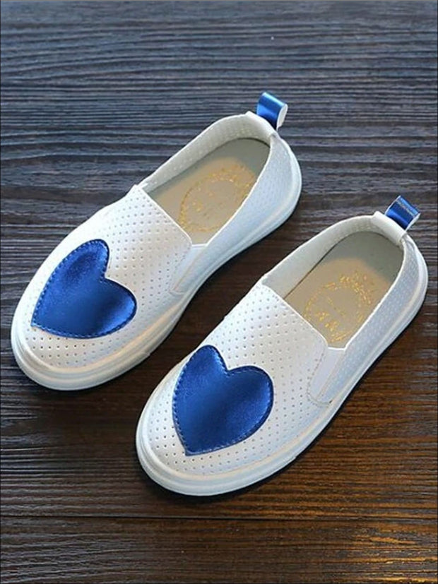 Girls Heart Breathable Slip On Sneakers - Blue / 1 - Girls Loafers