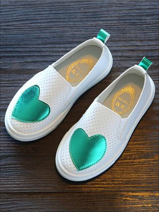 Girls Heart Breathable Slip On Sneakers - Green / 1 - Girls Loafers