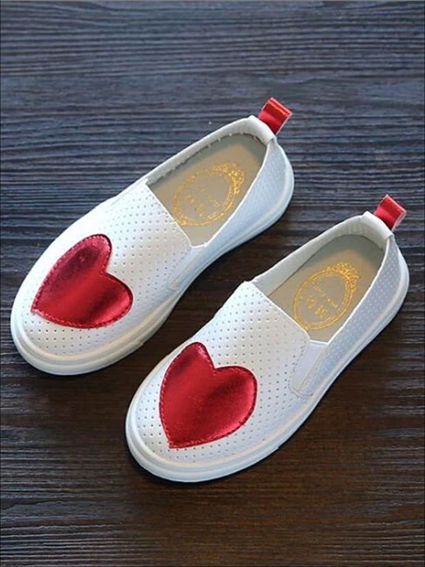 Girls Heart Breathable Slip On Sneakers - Red / 1 - Girls Loafers