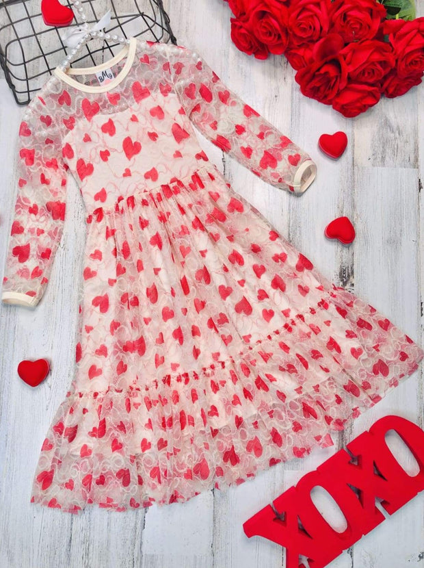 Girls Heart Lace Ruffled Dress with Sash - Creme / 2T/3T - Girls Fall Dressy Dress