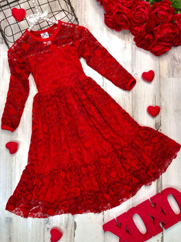 Girls Heart Lace Ruffled Dress with Sash - Red / 2T/3T - Girls Fall Dressy Dress