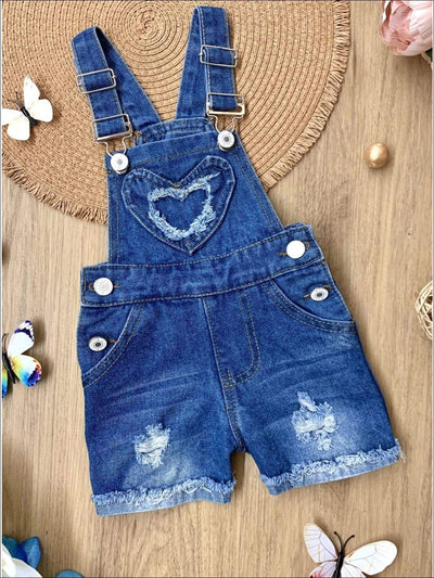 Girls Heart Patch Ripped Cuffed Denim Overall - Denim / 2T - Girls Jumpsuit
