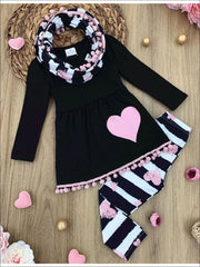 Girls Heart Pom Pom Tunic Striped Leggings and Scarf Set - Girls Fall Casual Set
