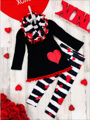 Girls Heart Pom Pom Tunic Striped Leggings and Scarf Set - Red / 2T - Girls Fall Casual Set