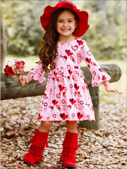 Girls Heart Print A-Line Long Flared Sleeve Dress - Girls Fall Casual Dress