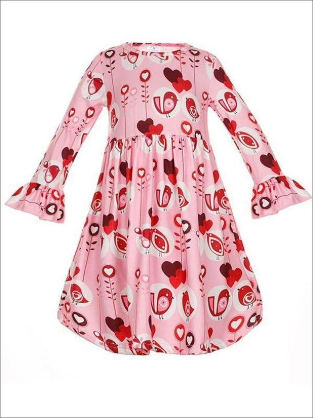 Girls Heart Print A-Line Long Flared Sleeve Dress - Pink / 2T - Girls Fall Casual Dress
