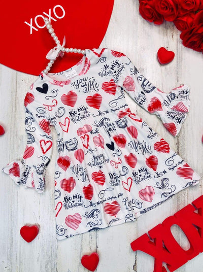 Girls Heart Print and Love Sayings Ruffled Dress - White / 2T - Girls Fall Casual Dress