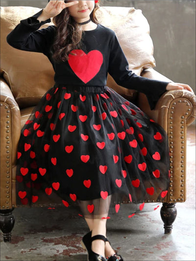 Girls Heart Print Black Embroidered Tulle Skirt - Girls Fall Casual Set