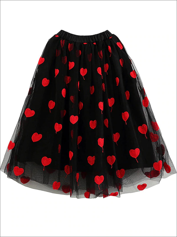 Girls Heart Print Black Embroidered Tulle Skirt - Black / Skirt 3T - Girls Fall Casual Set