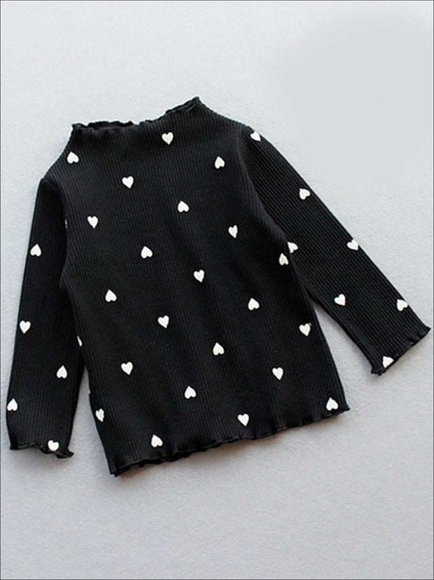Girls Heart Print Ribbed Turtleneck Sweater - Girls Fall Top