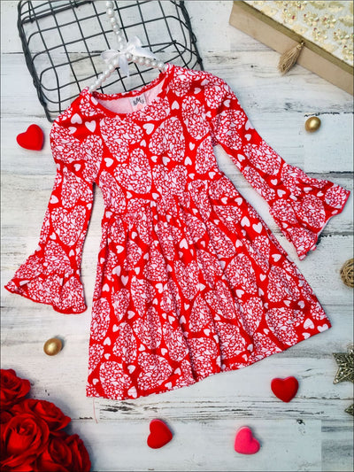 Girls Heart Print Ruffled Dress - 4T/5Y / Red - Girls Fall Casual Dress