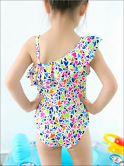 Girls Heart Print Tiered Ruffle One Shoulder Swimsuit - Girls One Piece Swimsuit