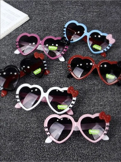 Girls Heart Shaped Sunglasses With Bow - Girls Accessories