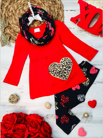 Girls Heart Themed Animal Print Heart Tunic Leggings & Scarf Set - Red / XS-2T - Girls Fall Casual Set