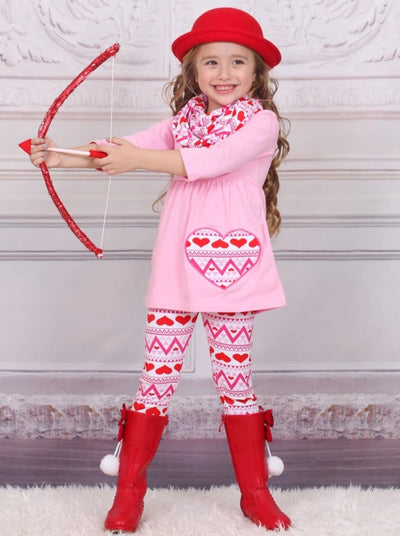 Girls Heart Themed Geometric Heart Print Tunic Leggings & Scarf Set - Girls Fall Casual Set