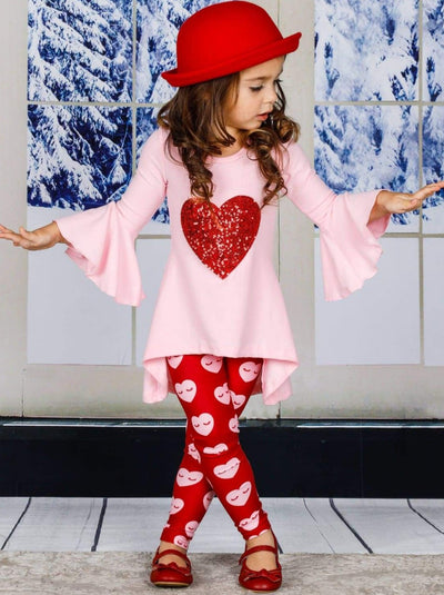 Girls Heart Themed Hi-Lo Bell Sleeve Heart Applique Tunic & Printed Leggings Set - Girls Fall Casual Set