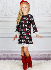 Girls Heart Themed Long Sleeve Printed Crochet Fringe Dress - Girls Fall Casual Dress