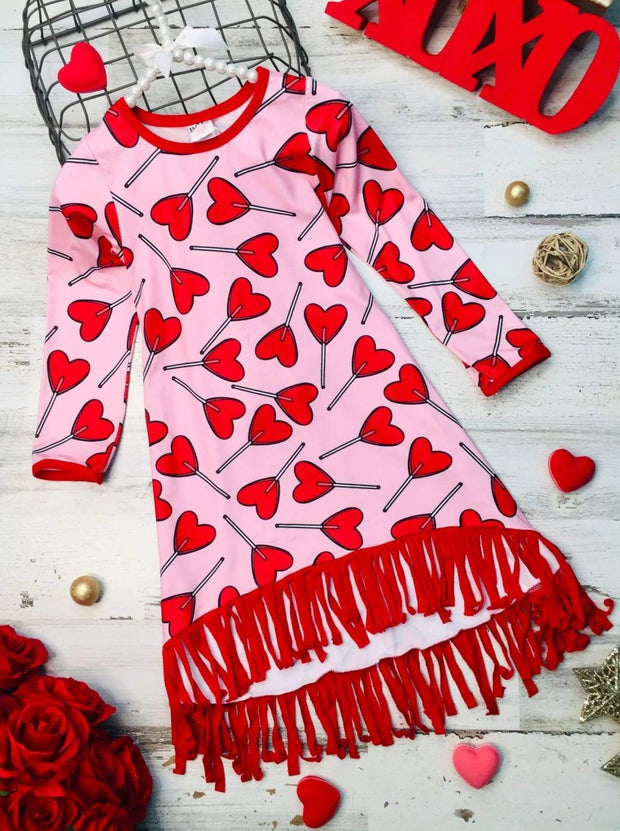 Girls Heart Themed Long Sleeve Printed Fringe Hem Dress - Pink / 2T/3T - Girls Fall Casual Dress