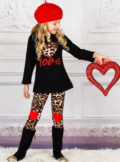 Girls Heart Themed Love Long Sleeve Top & Animal Print Heart Patch Leggings Set - Black / 2T - Girls Fall Casual Set