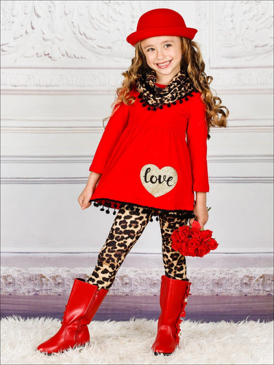 Girls Heart Themed Love Pom Pom Hem Tunic Animal Print Leggings & Scarf Set - Red / 2T - Girls Fall Casual Set
