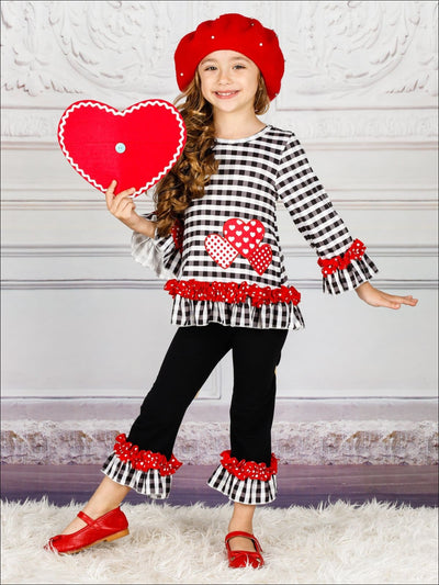 Girls Heart Themed Plaid Ruffled Heart Applique Top & Ruffled Leggings Set - Black / XS-2T - Girls Fall Casual Set